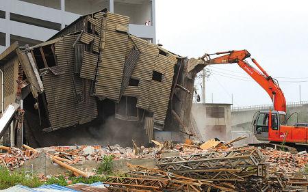 镇海拆除329国道旁违法建筑