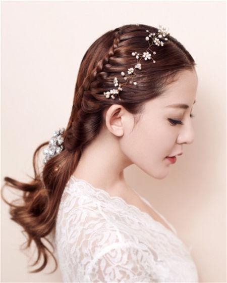 先将头发中分,并将左右两侧的发束以前额开始一分为二;将右侧靠后的