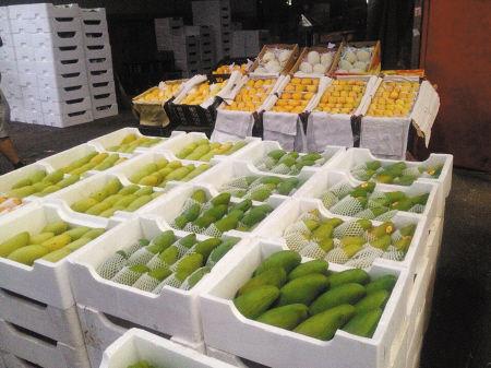 市区一家果品店在售的各种芒果。