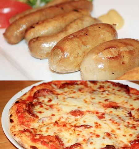 德国风味的香肠和披萨