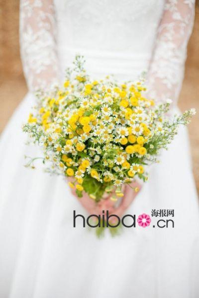 雏菊新人捧花新娘的美好气质凝结于白色花朵中