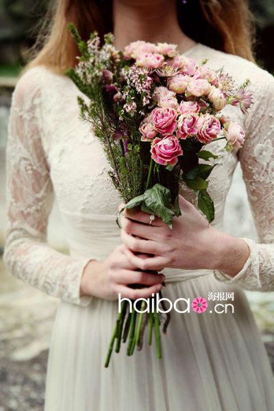 西班牙版花园风格婚纱大片采撷于大自然的花束