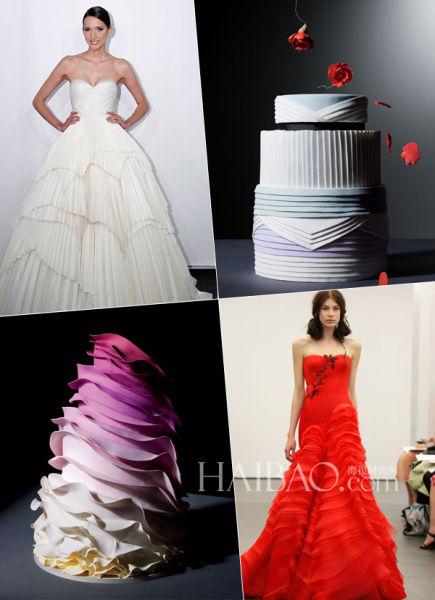 蛋糕品牌魅力城市创作出带有婚纱元素的婚礼蛋糕
