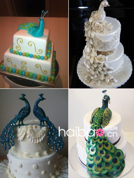 孔雀图案婚礼蛋糕鸟中王后降临甜蜜世界