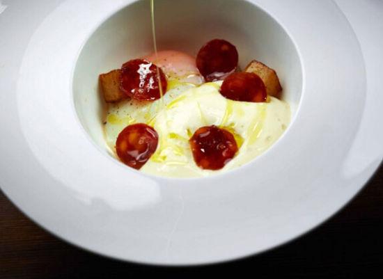 西班牙早餐 香肠、鸡蛋和土豆