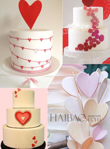 心形主题婚礼蛋糕奉上2014春夏童话般的甜蜜