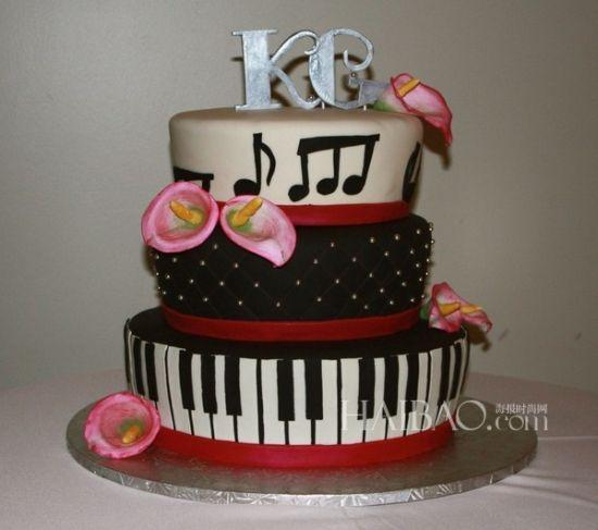 婚礼蛋糕也能奏出美妙旋律音乐婚礼蛋糕