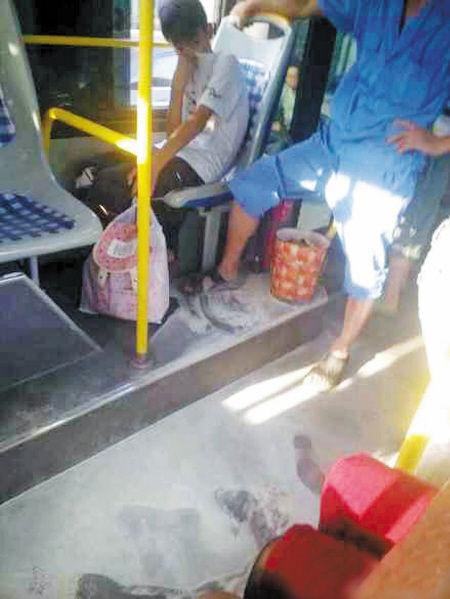 """公交车上留下了厚厚一层干粉。 图片由网友""""庄柯小童鞋""""提供"""
