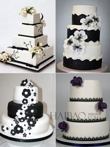 黑白双色婚礼蛋糕给你一个与众不同的婚礼印象