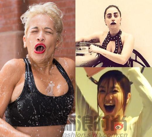 组图:女星挑战冰桶变汉子妆不花才是真赢家