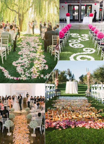 婚礼上的花瓣红毯鲜花簇拥之中迎来唯美仪式