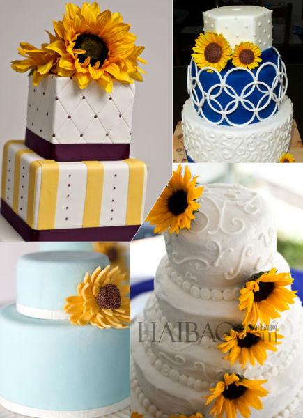 《向日葵》的婚礼蛋糕纯净色调的甜蜜寓意