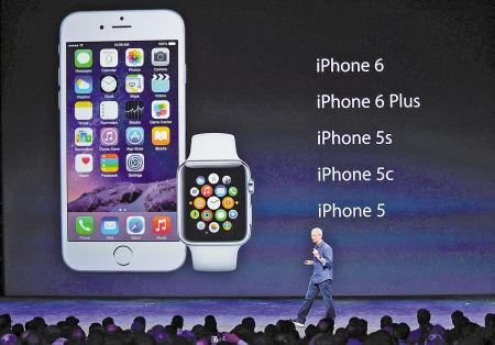 9月9日,美国苹果公司推出两款手机新产品,分别为iPhone6和iPhone6 Plus,同时推出一款手表。 新华社发