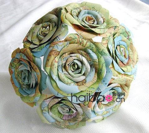 不是鲜花也动人用环保材质制作的新娘捧花