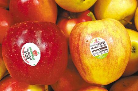 市区一家超市内在售水果贴着标签。记者 唐严 摄