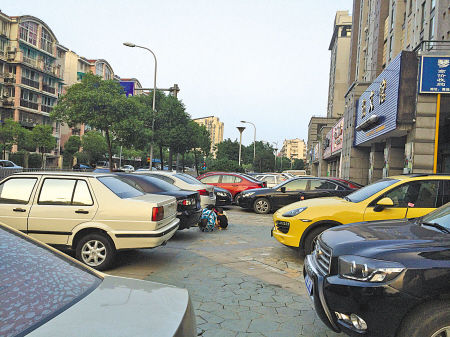 清湖路两侧的违停车辆。(王伊婧 摄)