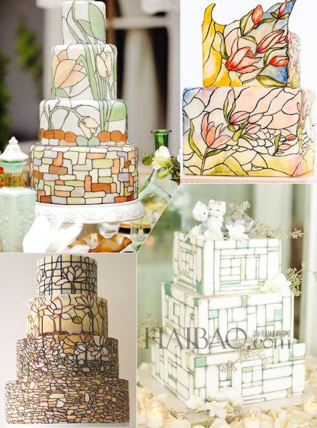 社交网络上的婚礼蛋糕流行趋势色彩斑斓的甜品