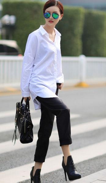 组图:潮人完美示范白衬衫也能穿出潮流感