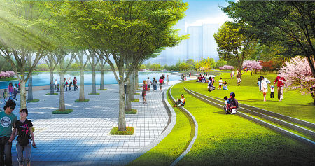 图为院士公园改造后A区效果图