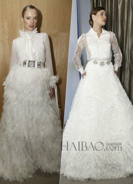 薄纱长袖的当代新娘嫁衣大胆创意展现唯美华丽