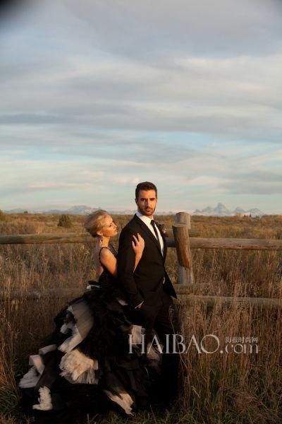 冬日里的黑色浪漫拍摄揭开新娘神秘面纱