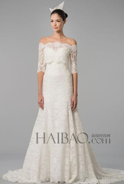 掉肩款式婚纱演绎优雅走进品牌秀场感受风潮