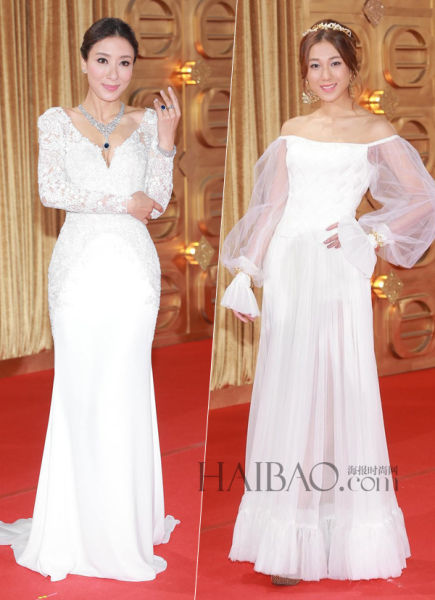 女星颁奖典礼上的新娘情结演绎红毯上的优雅