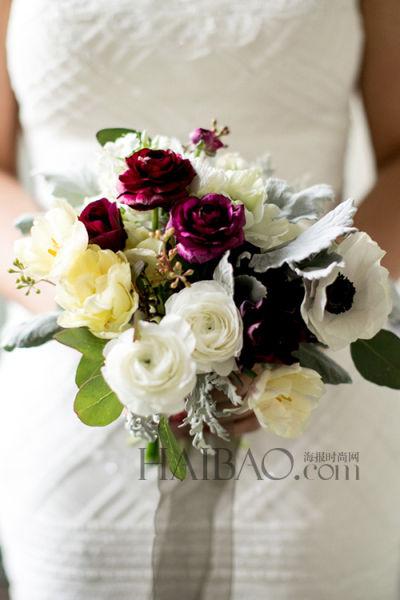 冬季新娘捧花果实与鲜花共同花营造秋冬气息