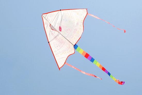 他们与家长一起,通过查风向,测距离,跑步带动风筝等步骤,使尽浑身解数